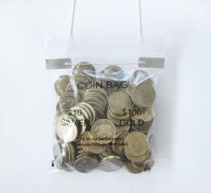 $1 coin bag close up