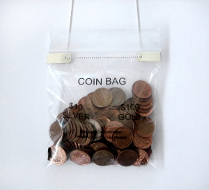 10c coin bag close up