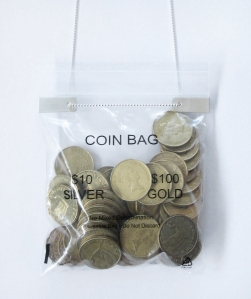 $2 coin bag close up